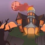 Cabana místico na montanha, castelo assustador na noite Dia das Bruxas, ilustração stock