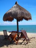 Cabana na praia em Desaru, Malaysia na manhã Foto de Stock