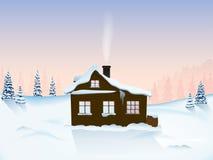 Cabana nas montanhas no alvorecer ilustração royalty free