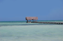 Cabana on Ocean Pier. Wooden dock with cabana on a pier Stock Photography