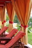 Cabana. An orange and red cabana area Royalty Free Stock Images