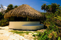Cabana. With palapa roof on a beach in the Riviera Maya Stock Photography