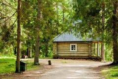 Cabana rústica de madeira na floresta do russo Fotografia de Stock