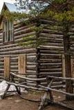 Cabana rústica de madeira histórica em Colorado Fotografia de Stock