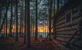 Cabana velha da pesca na floresta Imagens de Stock