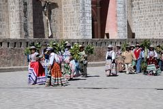 Cabanaconde Peru. Wedding procession in village Cabanaconde in south Peru Stock Images
