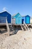 Cabanas azuis da praia Fotografia de Stock Royalty Free