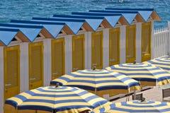 Cabanas and Beach Umbrellas Royalty Free Stock Photography
