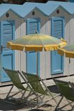 Cabanas and Beach Umbrellas Royalty Free Stock Image