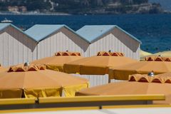Cabanas and Beach Umbrellas Royalty Free Stock Images