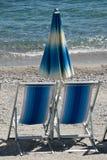 Cabanas and Beach Umbrellas Stock Image