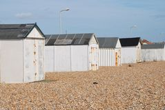Cabanas britânicas da praia, Sussex Imagens de Stock