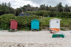 Cabanas coloridas da praia de Dinamarca Foto de Stock Royalty Free