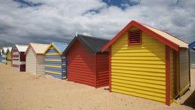 Cabanas coloridas da praia em Austrália Imagem de Stock