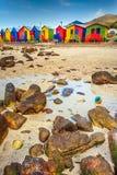 Cabanas coloridas da praia em St James Fotografia de Stock