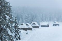 Cabanas da montanha cobertas com a neve no cenário nevoento do inverno imagem de stock royalty free