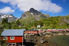 Cabanas da pesca em Lofoten imagens de stock