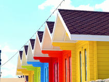 Cabanas da praia, baía norte, Scarborough. Imagem de Stock