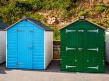 Cabanas da praia de Budleigh fotografia de stock