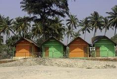 Cabanas da praia de Goa Fotografia de Stock