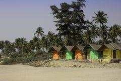 Cabanas da praia de Goa Fotos de Stock