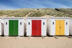 Cabanas da praia de Woolacombe Fotos de Stock Royalty Free