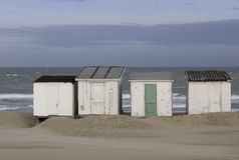 Cabanas da praia em Calais-França Imagem de Stock