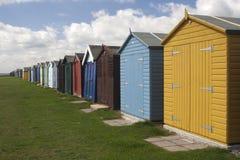 Cabanas da praia em Dovercourt, Essex, Inglaterra Imagens de Stock