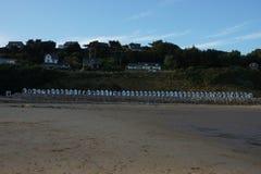 Cabanas da praia em france Imagens de Stock