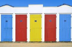 Cabanas da praia em Vendée em França Fotografia de Stock