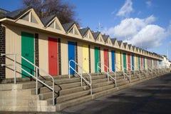 Cabanas da praia, Lowestoft, Suffolk, Inglaterra Fotografia de Stock
