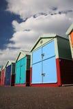 Cabanas da praia no levantado, Brigghton Fotografia de Stock