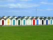 Cabanas da praia, Paignton, Devon sul. Fotografia de Stock