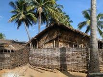Cabanas e palmeiras Thatched Fotografia de Stock Royalty Free