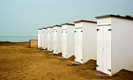 Cabanas på stranden Arkivbilder
