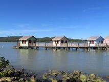 Cabanas på vattnet i Amber Cove kryssar omkring port i Puerto Plata, Dominikanska republiken Royaltyfri Bild