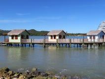 Cabanas på vattnet i Amber Cove kryssar omkring port i Puerto Plata, Dominikanska republiken Royaltyfria Foton