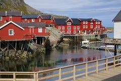Cabanas vermelhas da pesca imagem de stock royalty free