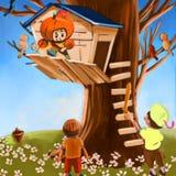 Cabane dans un arbre Photos libres de droits