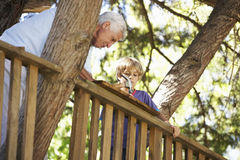 Cabane dans un arbre de bâtiment de grand-père et de petit-fils ensemble Image stock
