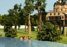 cabane dans un arbre de style de loge de l'illustration 3D Image libre de droits
