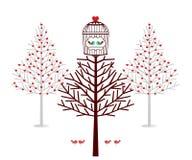 Cabane dans un arbre de vacances pour des oiseaux Images libres de droits