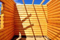 Cabane en rondins, cadre en bois Photo stock