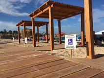 Cabanes de plage de Palmilla en San Jose del Cabo, Cabo San Lucas Photographie stock
