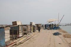 Cabanes sur le pilier de Jamestown, Accra, Ghana photo stock