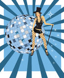 Cabaret. Girl from cabaret; Music poster.Abstract party poster with disco ball Royalty Free Stock Photo