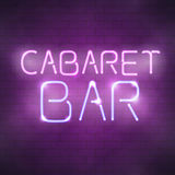 Cabaret bar neon sign on the brick wall Royalty Free Stock Photography