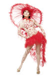 Cabaret Dancer. Young dancer in dance suit, studio shot Royalty Free Stock Images