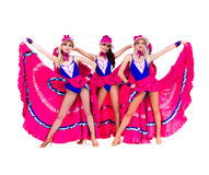 Cabaret dancer girls dressed in vintage costumes Royalty Free Stock Image