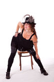 Cabaret dancer posing with chair Royalty Free Stock Image
